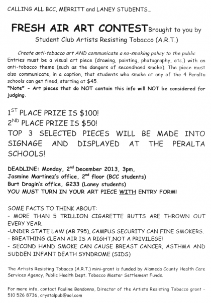 Fresh Air Art Contest flyer and application