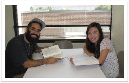 Pictured:  Students Adán R. Ortega and My Duyen Hoan in one of the newly opened study rooms.