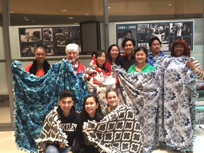 Thanks to a donation from Rotary of Berkeley, students and faculty at Berkeley City College were able to make 12 blankets this semester that will help keep those in need warm this winter.
