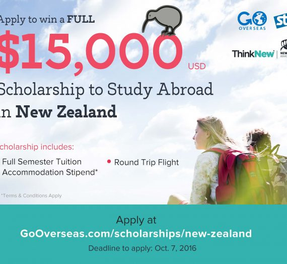 $15K Study Abroad Scholarship for a Semester in New Zealand