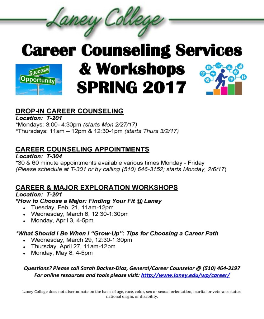 Career Workshops Flyer SPRING 2017
