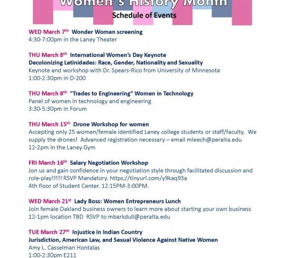 Women's History Month Events at Laney