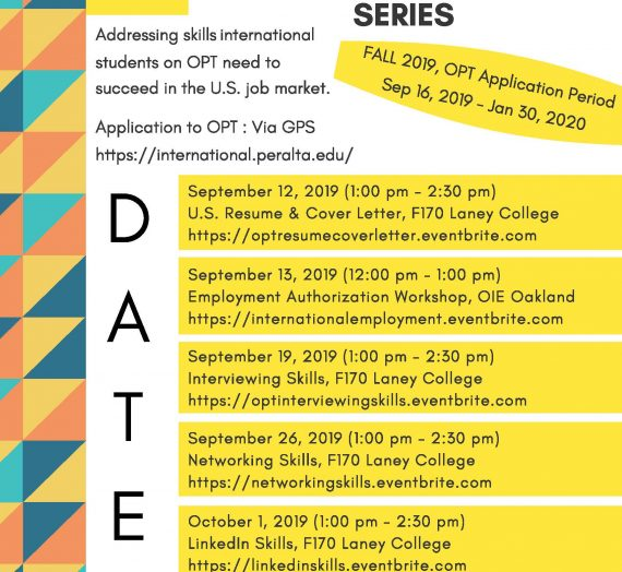 Employment Workshop Series (Fall 2019)